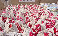 配布準備の整った支援物資